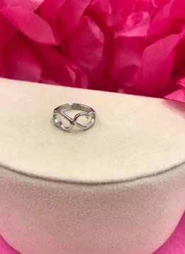 Stainless Steel Two Heart Ring Size 4