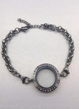 Floating Charm Bracelet with Rhinestones