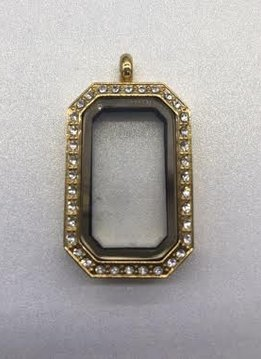 Gold Rectangle Floating Charm Locket w/Crystals