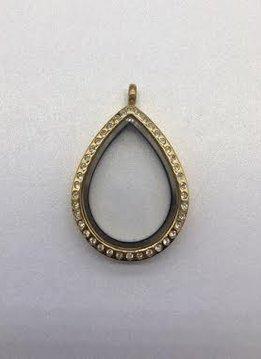 Gold Tear Drop Floating Charm Locket w/ Crystals