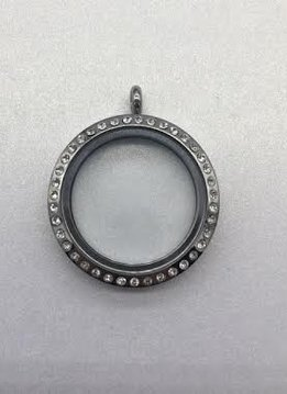 30mm floating charm locket with crystals, 316 stainless steel, screw on top.