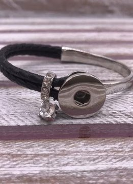 Black Leather Snap Bangle