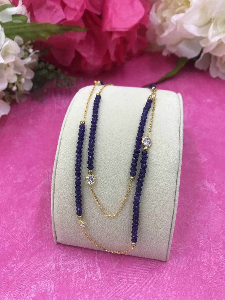 Qualita in Argento Amethyst and Cubic Zirconia Italian Sterling Gold Plated Long Necklace