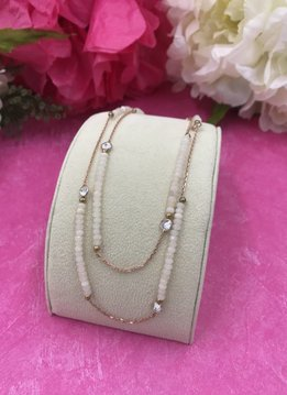 White Quartz and Cubic Zirconia Italian Sterling Rose Gold Plated Long Necklace