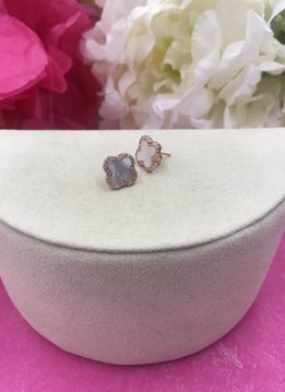 Mother of Pearl and Cubic Zirconia Italian Sterling Rose Gold Plated Clover Stud Earrings
