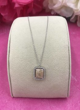 Rectangle Beige Quartz and Cubic Zirconia Italian Sterling Silver Necklace