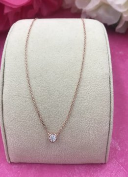Qualita in Argento Italian Sterling Rose Gold Plated Dainty Cubic Zirconia Necklace