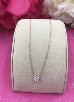 Qualita in Argento Italian Sterling Rose Gold Plated Simple Cubic Zirconia Necklace