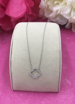 Italian Sterling Silver Clover Necklace with Cubic Zirconia