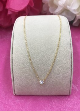 Qualita in Argento Italian Sterling Gold Plated Dainty Cubic Zirconia Necklace