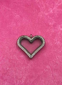 Stainless Steel Floating Charm Heart Locket with Rhinestones