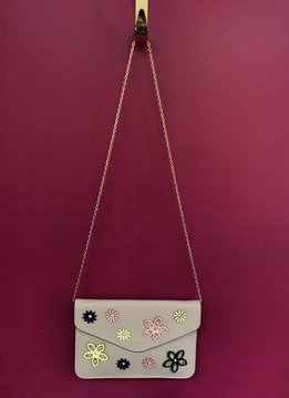 Solid and Patched Flower Flap Over Clutch with Chain Strap in Beige