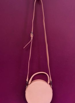 Solid Round Shape with Single Handle and Shoulder Strap Bag in Coral
