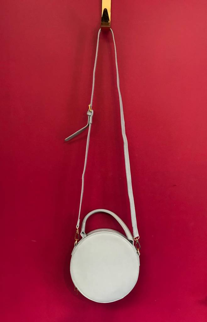 Solid Round Shape with Single Handle and Shoulder Strap Bag in Light Blue