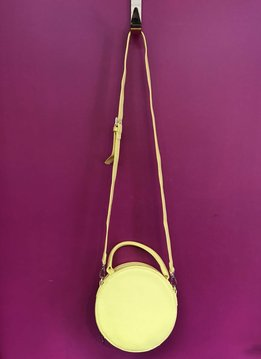 Solid Round Shape with Single Handle and Shoulder Strap Bag in Yellow