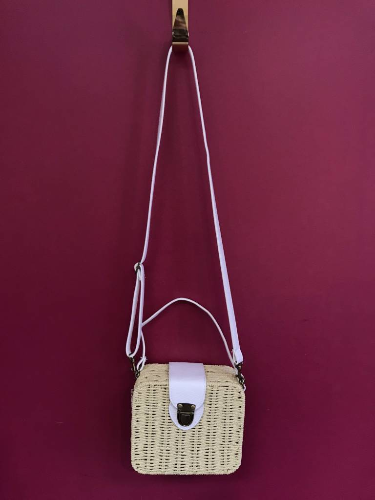 Small Straw Flap Over Messenger Bag in Beige