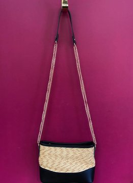 Straw and Solid Trim Messenger Bag with Strap in Black