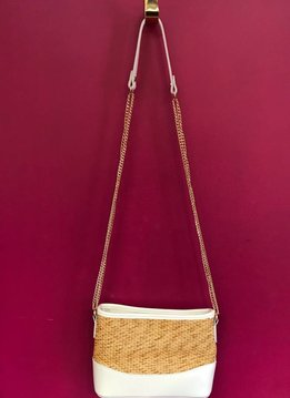 Straw and Solid Trim Messenger Bag with Strap in White