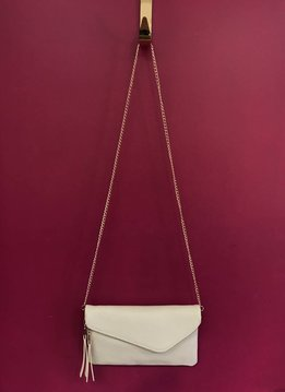 Solid Flap Over Envelope Clutch with Strap in Beige