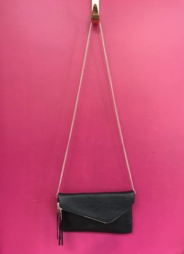 Solid Flap Over Envelope Clutch with Strap in Black