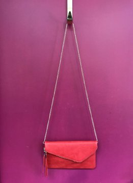 Solid Flap Over Envelope Clutch with Strap in Red