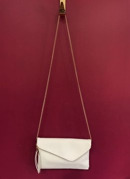 Solid Flap Over Envelope Clutch with Strap in White