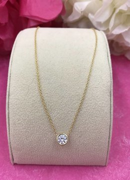 Qualita in Argento Italian Sterling Gold Plated Simple Cubic Zirconia Necklace