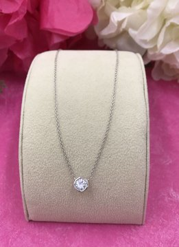 Italian Sterling Silver Simple Cubic Zirconia Necklace