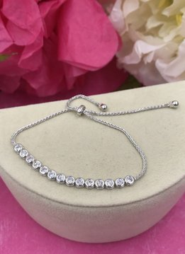 Italian Sterling Silver Adjustable Round Cubic Zirconia Bracelet