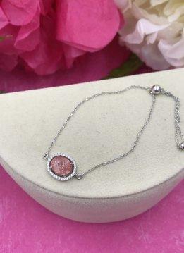 Italiant Sterling Silver Pink Quartz and Cubic Zirconia Adjustable Bracelet