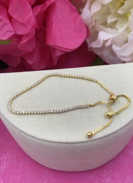 Qualita in Argento Italian Sterling Gold Plated Adjustable Cubic Zirconia Bracelet