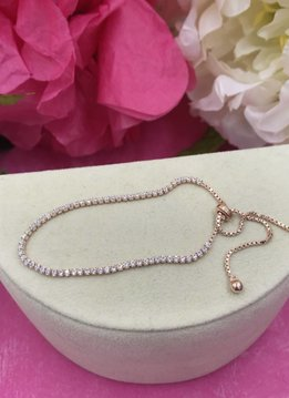 Qualita in Argento Italian Sterling Rose Gold Plated Cubic Zirconia Adjustable Bracelet