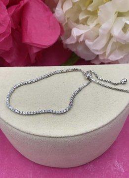 Italian Sterling Silver Cubic Zirconia Adjustable Bracelet