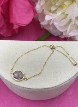 Qualita in Argento Gold Plated Italian Sterling Silver Tan Oval Quartz and Cubic Zirconia Adjustable Bracelet