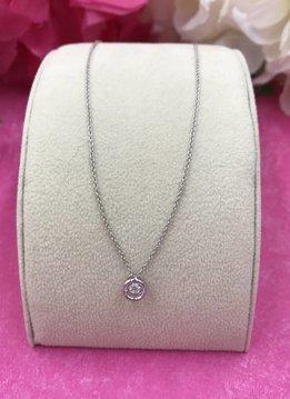 "Italian Sterling Silver Mini Cubic Zirconia ""Dancing Diamond"" Necklace"