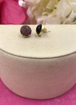 Qualita in Argento Gold Plated Italian Sterling Silver Purple Quartz Stud Earrings