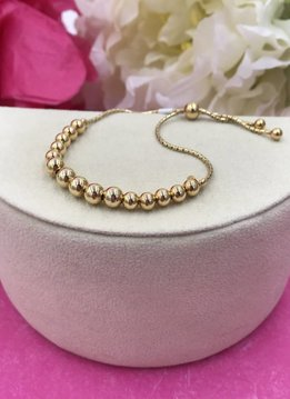 Sterling Gold Ball Adjustable Bracelet