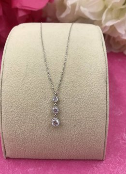 Sterling Silver CZ 3 drop Necklace