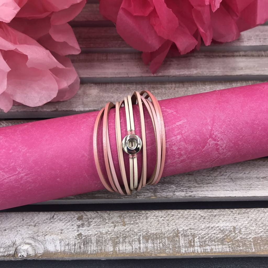 Gradiated Pink Snap Mini Layered Wrap Bracelet