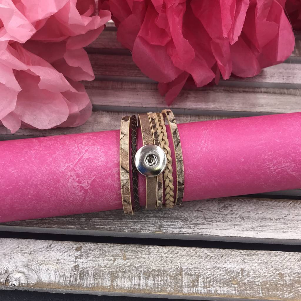 Brown Layered Snap Wrap Bracelet with Braid