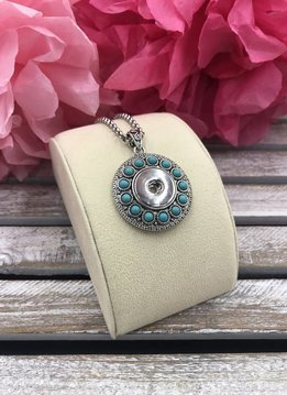 Round Silver Snap Pendant with Turquoise Stones