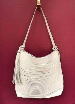 Tassel Accent Unique Layered Strip Boho Faux Leather Purse in White