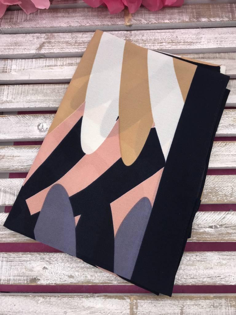 Fashionable Navy Print Square Scarf