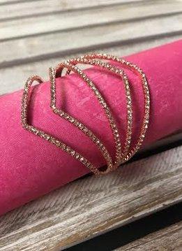 Rose Gold Rhinestone V Bracelet