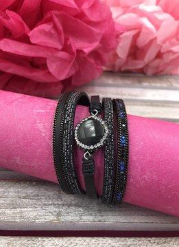 Black Multi-Strand Bracelet with Round Stone at the Center