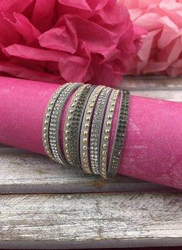 Gray Multi-Strand Faux Leather Wrap Bracelet