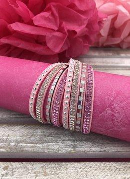 Pink Multi-Strand Faux Leather Wrap Bracelet