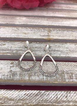 Silver Tear Drop Hammered Earrings with Dark Rhinestones