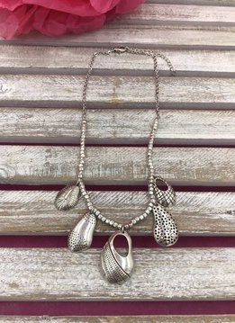 Silver Dangling Pear Shaped Pendant Necklace