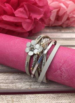 Gray Multi-Strand Wrap Bracelet with A Petite Flower